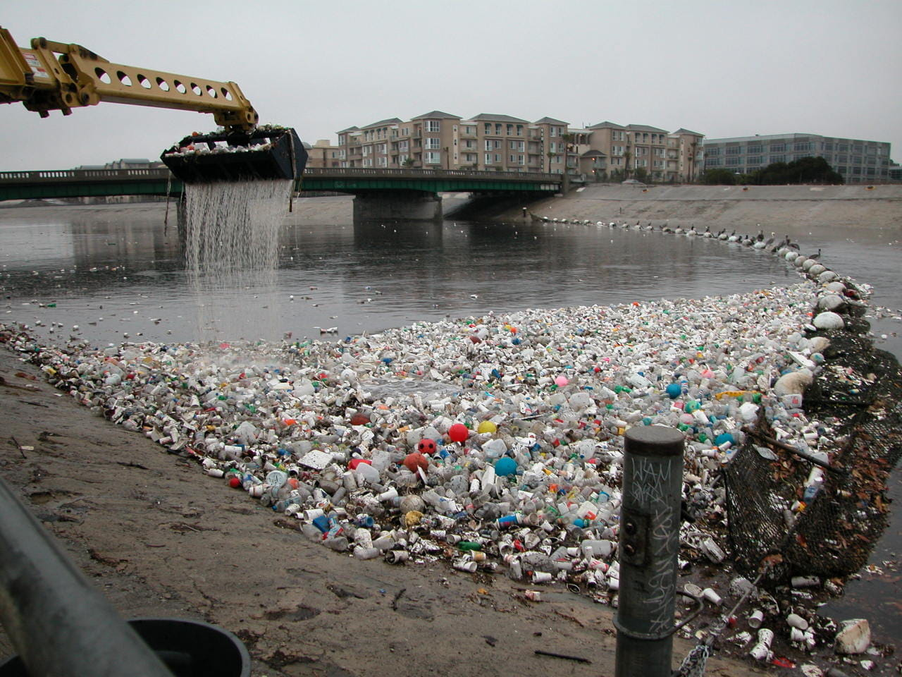 Plastic collects at the mouth of the Los Angeles River