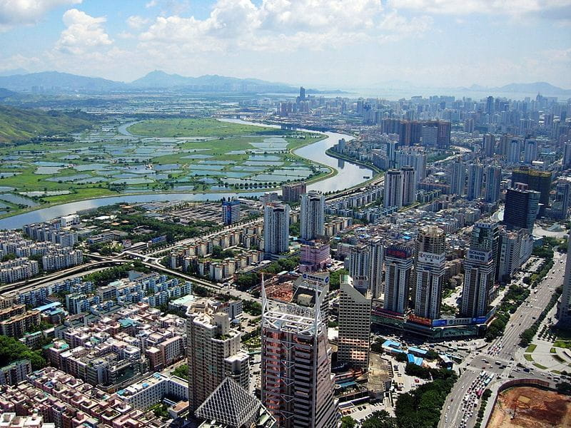 The river and rice fields to the West of Shenzhen