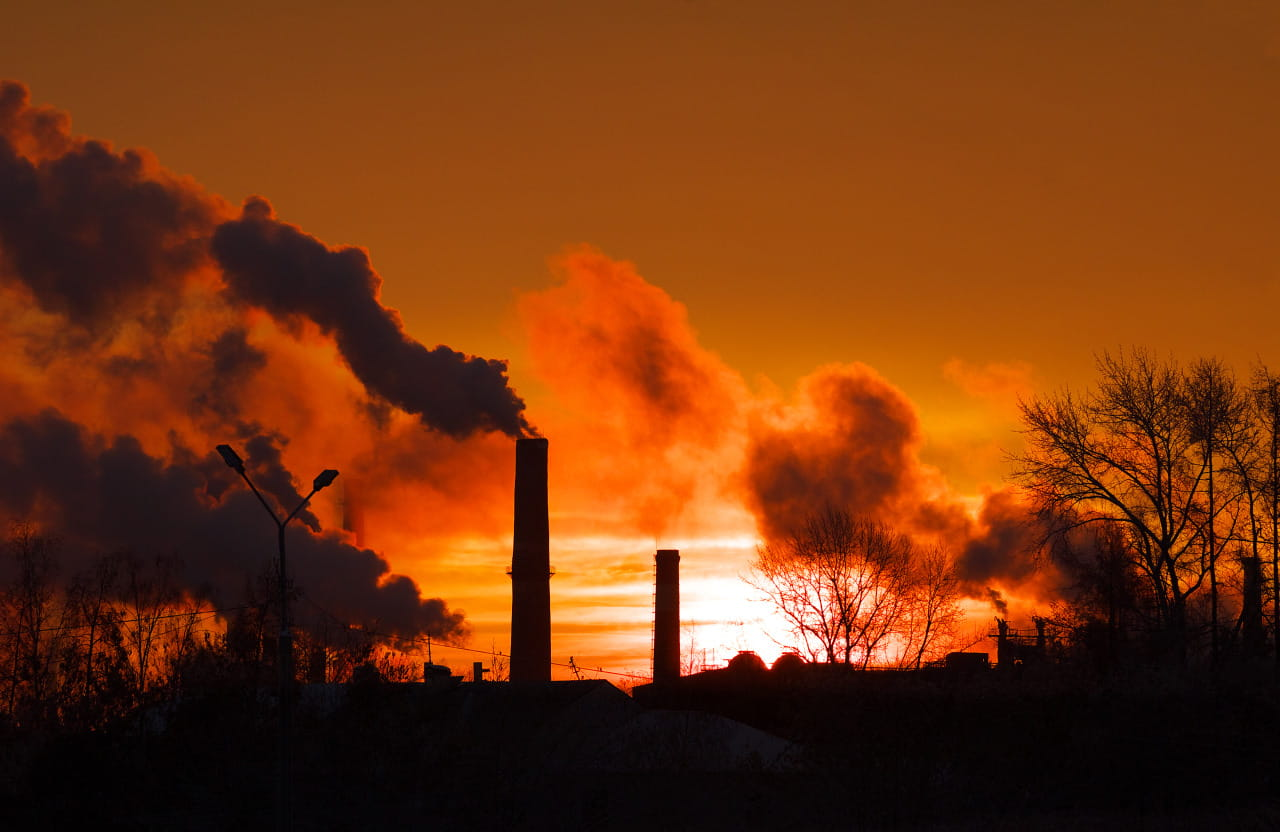 factory burning fossil fuels