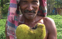 man with knobbly fruit