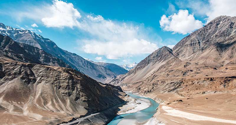 The confluence of the Indus and Zanskar rivers in Leh Ladakh, India