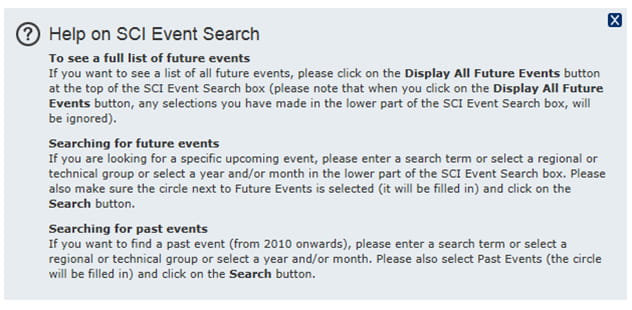event search help text