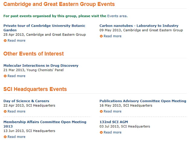 SCI group events page