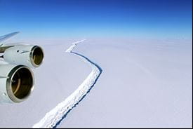 Ice shelf at Larsen C, Antarctica.