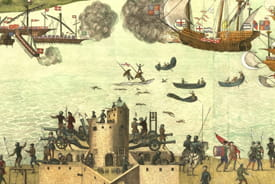 The Cowdray Engraving depicts the sinking of the Mary Rose