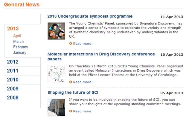 new layout of SCI news pages