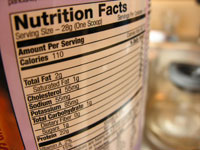 food nutrition label