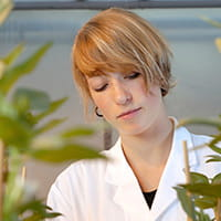 researcher with plants