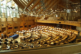 The debating chamber in the Scottish Parliament, Edinburgh