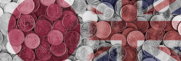 SCI PoliSCI newsletter 27th October 2020 - image of Japanese and UK flags side by side overlay on coins