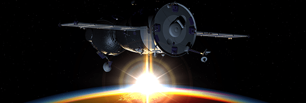 SCI PoliSCI newsletter 15 December 2020 - image of a spacecraft in earth orbit - 3D rendering background
