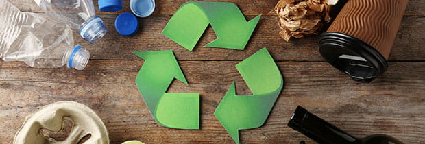SCI PoliSCI newsletter 29th September 2020 - image of recycle symbol and different rubbish