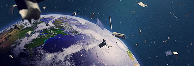 SCI PoliSCI newsletter 29th September 2020 - image of space junk debris in earth orbit