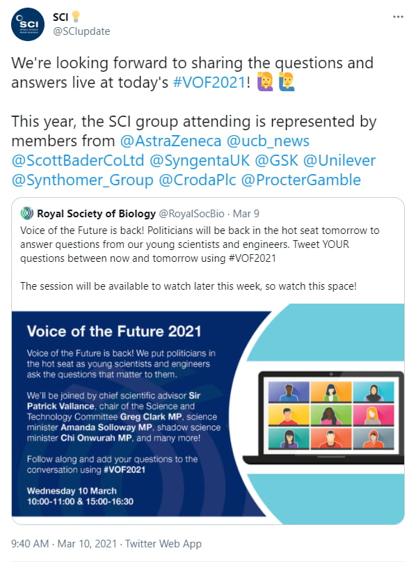Voice of the Future event 2021 - image of a tweet by the RSB