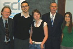 Left to right: Terence Cosgrove, Professor of Physical Chemistry, Bristol University; Michele Memoli; Kara Cubbage; Stuart Shields, Group Chairman; and Jessica Gwyther