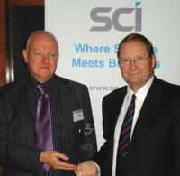 well-known science writer Dr John Emsley presented Prof Steven Ley of the University of Cambridge with the 2007 Innovation Award