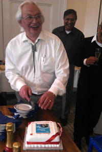 Em Prof Mike Cox and cake