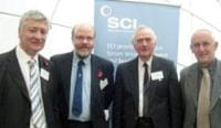 from left to right: Mr Andy Ainsworth, Mr Tom Clarkson (Secretary), Dr Dick Bond (Treasurer), Professor Russell Howe (Chair)