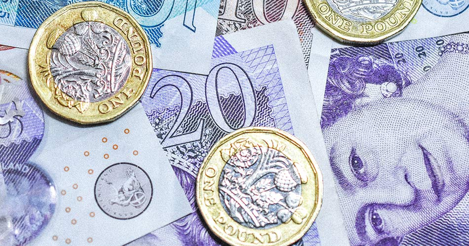 SCIblog - 14 January 2021 - 2021: 'A year to look forward to.' - image of a scattered pound sterling