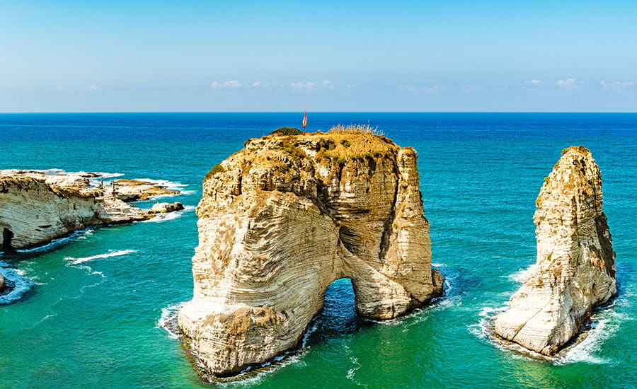 SCIblog 22 February 2021 - Hydrocarbon resources - image of pigeon rocks raouche beirut lebanon
