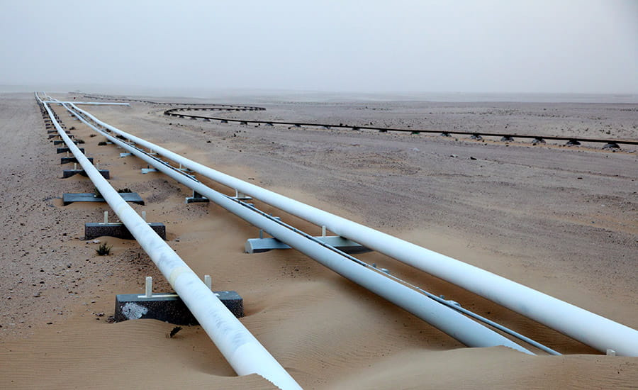 SCIblog 22 February 2021 - Hydrocarbon resources - image of oil pipeline desert qatar middle east