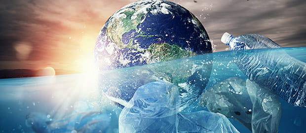 SCI PoliSCI newsletter - 20 April 2021 - image of globe floating in ocean next to plastic waste